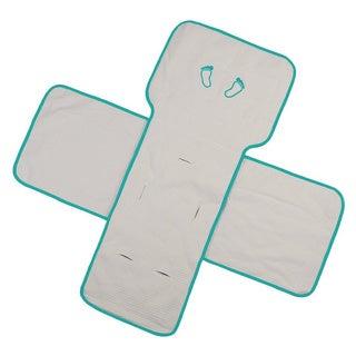 Organic Gender Neutral Baby Blanket in Beige/ Aqua