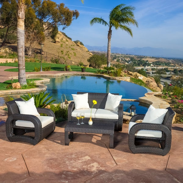 Christopher Knight Home Medfield Outdoor 4-piece Brown Wicker Seating Set