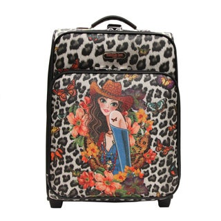Nicole Lee Cleo Print Collection 20-inch Sandra Black Carry On Rolling Expandable Upright