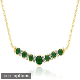 Dolce Giavonna 14k Gold Overlay Simulated Ruby or Simulated Emerald Necklace