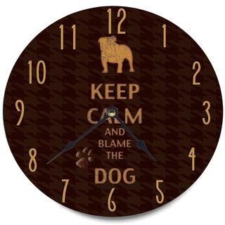 'Keep Calm and Blame The Dog' Brown Wood Clock