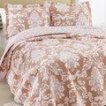 Laura Ashley Venetia Coral Reversible Cotton 3-piece Quilt Set