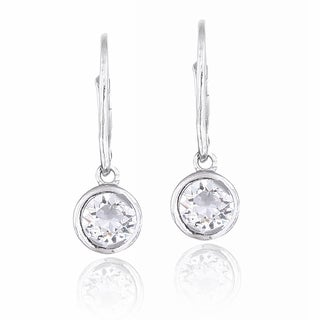 Crystal Ice Silvertone Crystal Round Leverback Earrings with Swarovski Elements