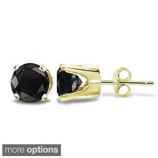 DB Designs 14k Gold 1/2ct TDW Black Diamond Round Stud Earrings