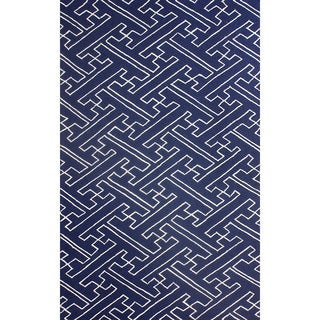 nuLOOM Hand-hooked Modern Byway Navy Rug (8'6 x 11'6)