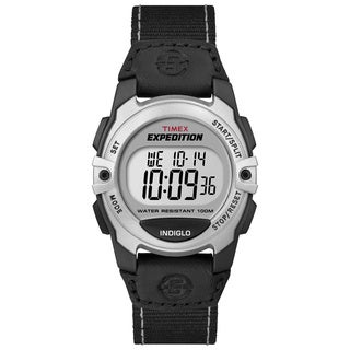 Timex 'Expedition' Mid-size Digital Black/Silvertone Nylon Strap Watch