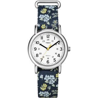 Timex Women's T2P370 Weekender Blue Floral Print Slip-Thru Nylon Strap Watch