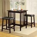 TRIBECCA HOME Nova Espresso 3-piece Kitchen Counter Height Dining Set