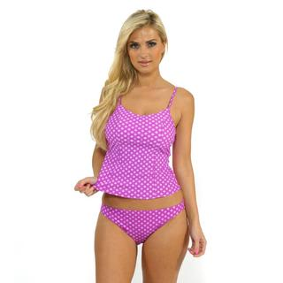Antiqua Women's Violet Polka-dots Tankini Top with Hipster Bottoms