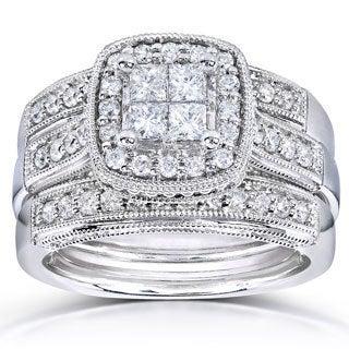 Annello 14k White Gold 7/8ct TDW Princess Quad Diamond 3-ring Miligrain Bridal Set (H-I, I1-I2)