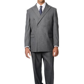 Caravelli Italy Men's 'Superior 150' Grey 6-on-2-button Double Breasted Suit