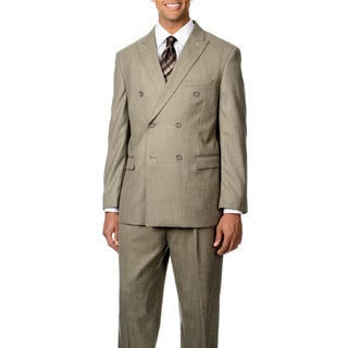 Caravelli Italy Men's Tan Double Breasted Peak Lapel 6-on-2-button Suit
