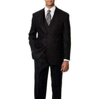 Caravelli Italy Men's Black Shark Pattern Vested 2-button Suit
