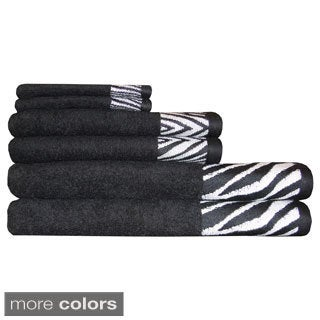 Safari Border Jacquard 6-piece Cotton Towel Sets