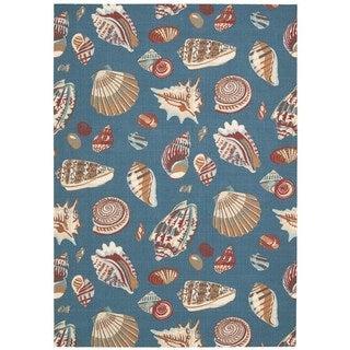 Waverly Sun N' Shade by Nourison Azure Indoor/Outdoor Rug (5'3 x 7'5)