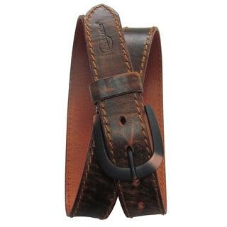 Amerileather Men's Rust Topstitched Cowhide Traveler Belt