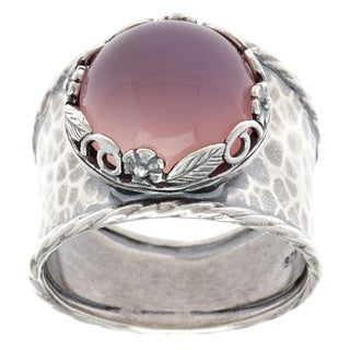 'Pink Chalcedony Cabochon Sterling Silver Ring (Israel)