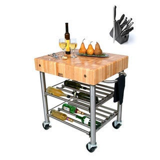 John Boos CUCD15WC Cucina Maple D'Amico 30 x 24 x 35 Wine Cart and Henckels 13-piece Knife Block Set