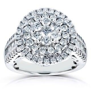 Annello 14k White Gold 1 1/2ct TDW Round Diamond Composite Ring (H-I, I1-I2)