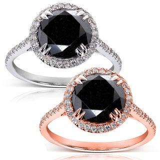 Annello 14k Gold 3 7/8ct TDW Black and White Diamond Halo Ring (G-H, I1-I2)