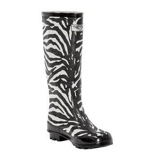 Women's Black/ White Zebra Print Rain Boots