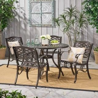 Christopher Knight Home Hallandale Sarasota 5-piece Cast Aluminum Bronze Outdoor Dining Set