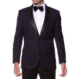 Zonettie Men's Slim Fit Purple/ Black Shawl Collar Tuxedo Blazer