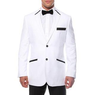 Ferrecci Men's Slim Fit White and Black 2-button Blazer