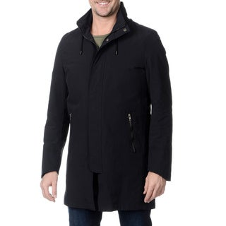 Nautica Men's Navy Hooded Raincoat with Removable Lining