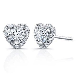 14k White Gold 3/5ct TDW Diamond Heart Shape Stud Earrings (H-I, I1-I2)