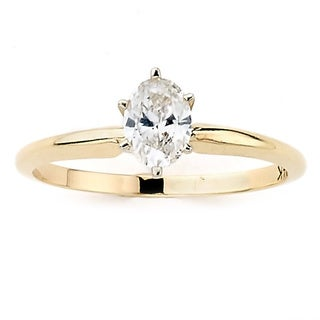 Diamonds For A Cure 14k Yellow Gold 1/2ct TDW Oval Solitaire Ring (H-I, SI1-SI2)