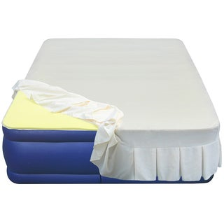 Airtek Queen-size Flocked Top Airbed with 1-inch Memory Foam Topper and Skirted Sheet Cover
