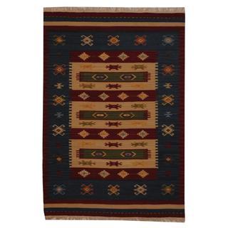 Indo Hand-woven Turkish Kilim Ivory/ Red Wool Rug (4' x 6')