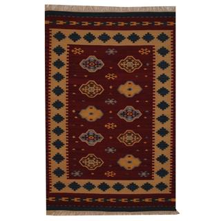 Indo Hand-woven Turkish Kilim Red/ Ivory Wool Rug (4' x 6')