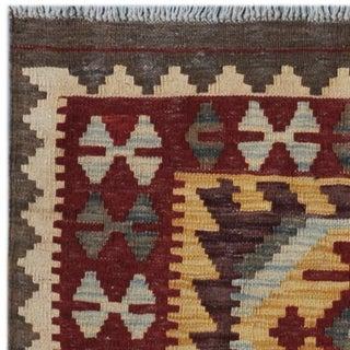 Afghan Hand-woven Kilim Gold/ Maroon Wool Rug (4'2 x 5'7)