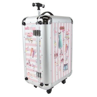 Nicole Lee Priscilla Pink/White Aluminium 21-inch Hardside Carry-on Spinner Upright