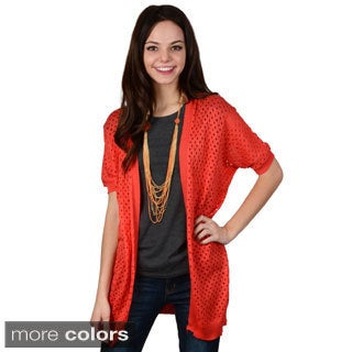Hailey Jeans Co. Junior's Dolman Sleeve Open Knit Cardigan