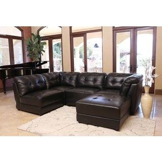 ABBYSON LIVING Ella 5-piece Black Modular Leather Sectional