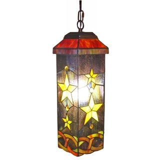 Amora Lighting Stars Tiffany Style 7-inch Wide Hanging Lamp