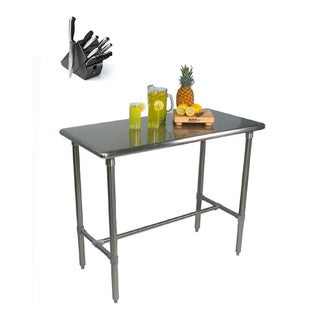 John Boos Cucina Americana Classico Table 48x30x36 with Henckels 13 Piece Knife Block Set