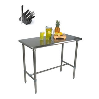 John Boos BBSS483024-40 Cucina Americana Classico Table 48x30x40 with Henckels 13 Piece Knife Block Set