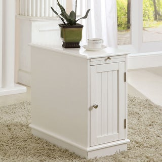 Furniture of America Lurell Storage White Accent Cabinet with Beverage Tray