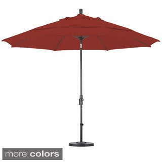 Pacifica 11-foot Crank and Push Button Tilt Umbrella with Base