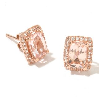 14k Rose Gold Morganite and White Topaz Cushion-cut Stud Earrings