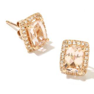 14k Yellow Gold Morganite and Diamond Cut White Topaz Cushion-cut Stud Earrings
