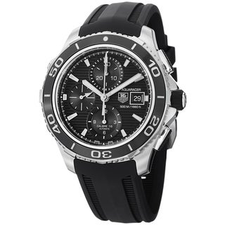 Tag Heuer Men's CAK2110.FT8019 'Aquaracer500' Black Dial Black Rubber Strap Watch
