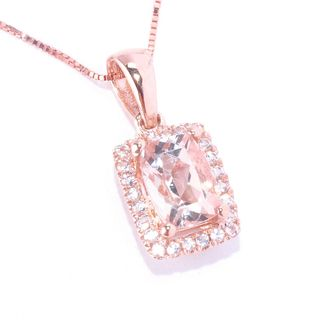 14k Rose Gold Cushion-cut Morganite and White Topaz Pendant Necklace