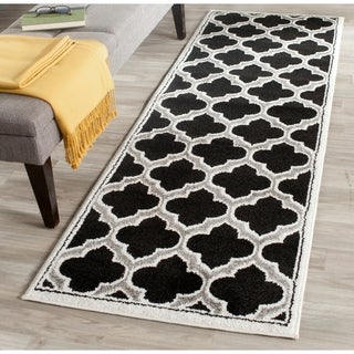 Safavieh Amherst Indoor/ Outdoor Anthracite/ Ivory Rug (2'3 x 7')