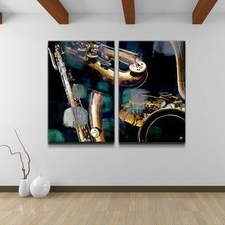 Alexis Bueno 'The Color of Jazz VI' Oversized 2-piece Canvas Wall Art