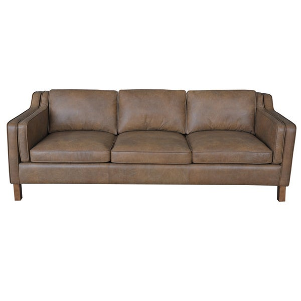 Inch oxford honey leather sofa univers canap for Canape leather sofa